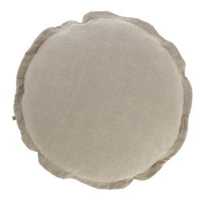 Moana Fabric Round Cushion, Beige
