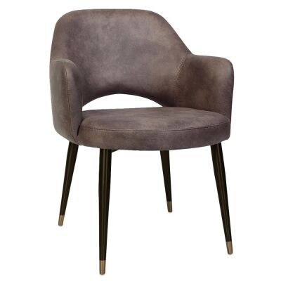 Albury Commercial Grade Fabric Dining Armchair, Slim Metal Leg, Donkey / Black Brass