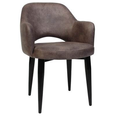 Albury Commercial Grade Fabric Dining Armchair, Metal Leg, Donkey / Black