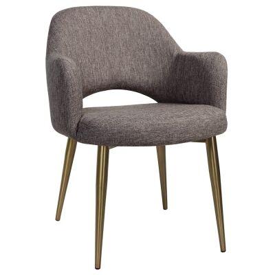 Albury Commercial Grade Fabric Dining Armchair, Slim Metal Leg, Ash Grey / Brass