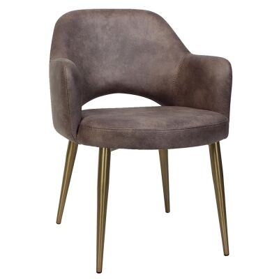 Albury Commercial Grade Fabric Dining Armchair, Slim Metal Leg, Donkey / Brass