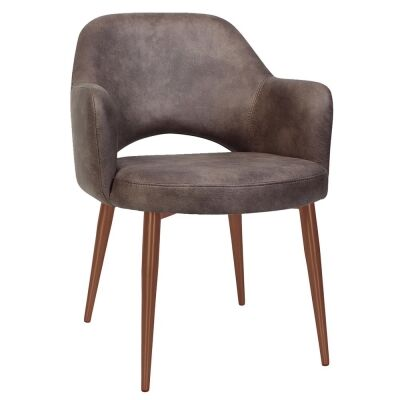 Albury Commercial Grade Fabric Dining Armchair, Slim Metal Leg, Donkey / Copper