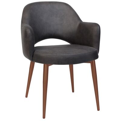 Albury Commercial Grade Fabric Dining Armchair, Slim Metal Leg, Slate / Copper