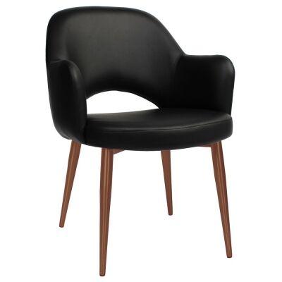 Albury Commercial Grade Vinyl Dining Armchair, Slim Metal Leg, Black / Copper