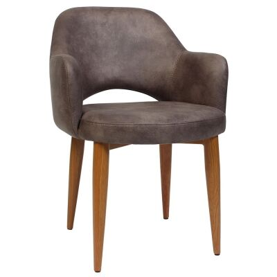 Albury Commercial Grade Fabric Dining Armchair, Metal Leg, Donkey / Light Oak