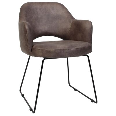 Albury Commercial Grade Fabric Dining Armchair, Metal Sled Leg, Donkey / Black
