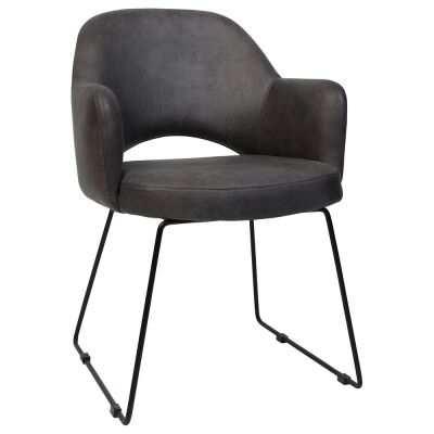 Albury Commercial Grade Fabric Dining Armchair, Metal Sled Leg, Slate / Black