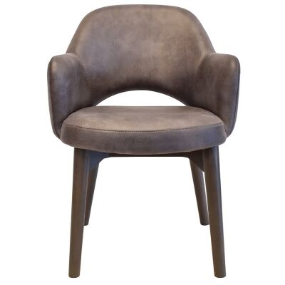 Albury Commercial Grade Fabric Dining Armchair, Timber Leg, Donkey / Olive Grey