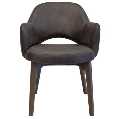 Albury Commercial Grade Fabric Dining Armchair, Timber Leg, Slate / Olive Grey
