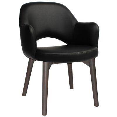 Albury Commercial Grade Vinyl Dining Armchair, Timber Leg, Black / Olive Grey
