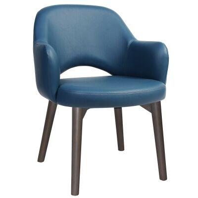 Albury Commercial Grade Vinyl Dining Armchair, Timber Leg, Blue / Olive Grey