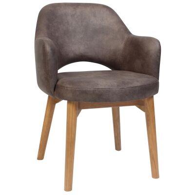 Albury Commercial Grade Fabric Dining Armchair, Timber Leg, Donkey / Light Oak