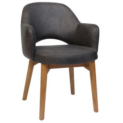 Albury Commercial Grade Fabric Dining Armchair, Timber Leg, Slate / Light Oak