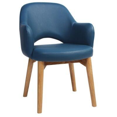 Albury Commercial Grade Vinyl Dining Armchair, Timber Leg, Blue / Light Oak