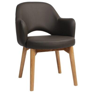 Albury Commercial Grade Vinyl Dining Armchair, Timber Leg, Charcoal / Light Oak