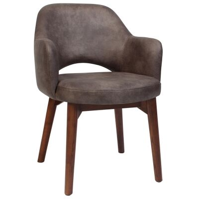 Albury Commercial Grade Fabric Dining Armchair, Timber Leg, Donkey / Light Walnut