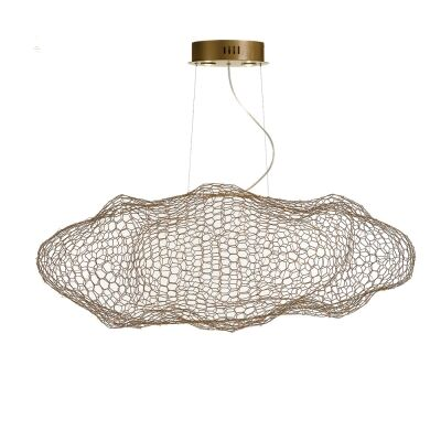 Kasha Metal Mesh Cloud Pendant Light, Gold