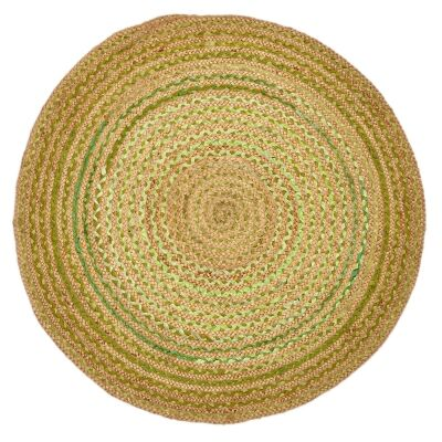 Kaza Handwoven Round Jute Rug,  120x120cm, Natural / Green