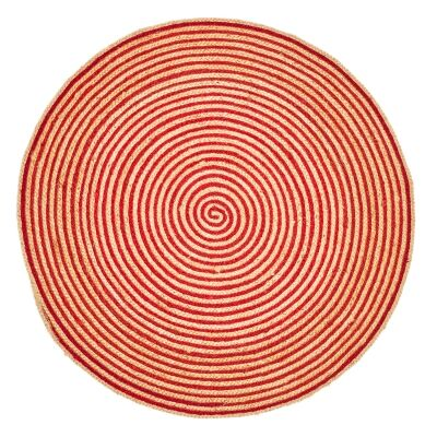 Kaza Handwoven Round Cotton & Jute Rug, 200cm, Red / Natural