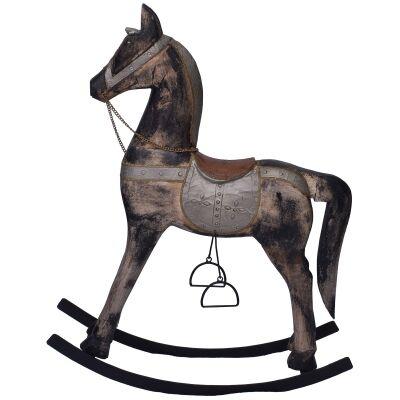 Hartington Antique Mango Wood Rocking Horse Ornament, Large