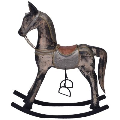 Hartington Antique Mango Wood Rocking Horse Ornament, Medium