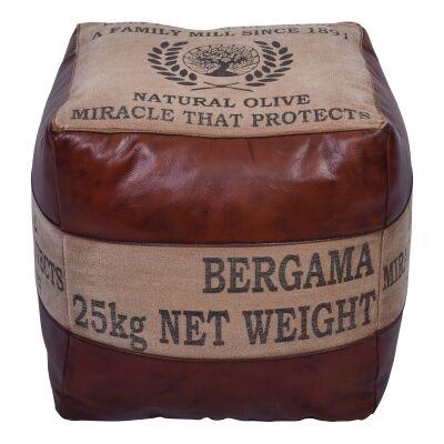 Bergama Leather & Canvas Square Pouf