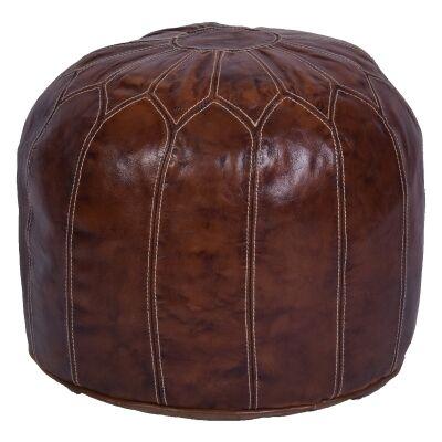 Sanremo Leather Round Ottoman Pouf