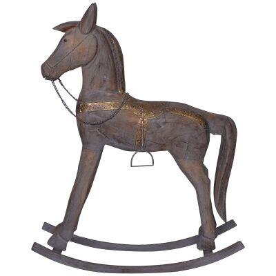 Glendare Carved Timber Rocking Horse Ornament, Large