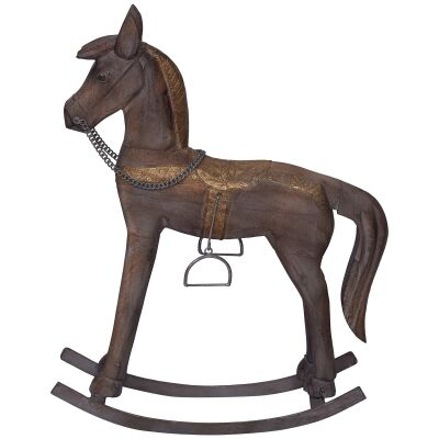 Glendare Carved Timber Rocking Horse Ornament, Small