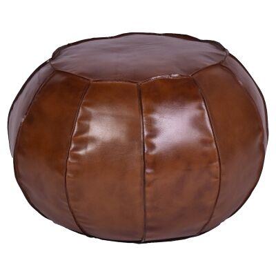 Fret Leather Round Ottoman Pouf