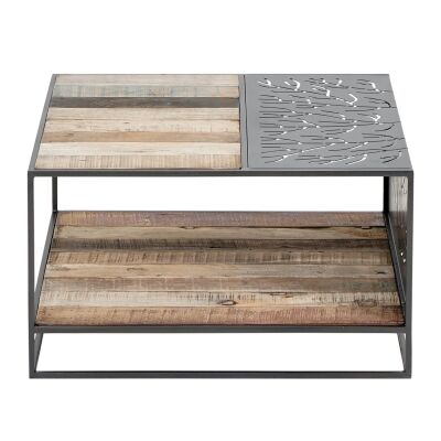 Lalmond Coral Reclaimed Timber & Iron Square Coffee Table, 70cm