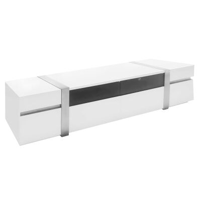 Crusty 4 Drawer TV Unit, 216cm, High Gloss White / Silver