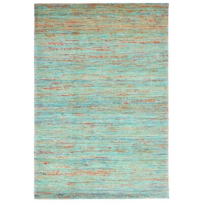 Kerla Horizon Handwoven Silk & Jute Rug, 280x190cm, Natural / Aqua
