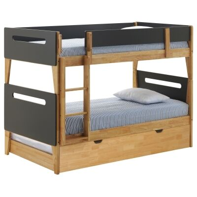 Casla Wooden Bunk Bed with Trundle, Single