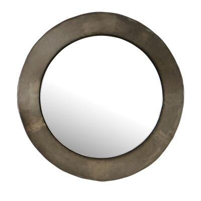 Gamelan Metal Framed Round Drum Wall Mirror, 80cm