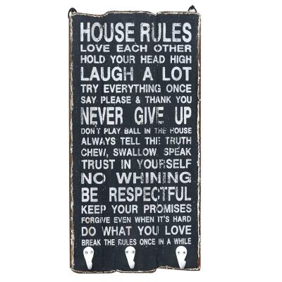 """House Rules"" Timber Wall Panel with Hooks"