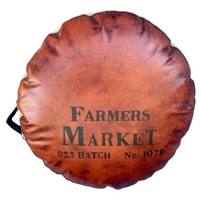 Farmers Market Goat Leather & Canvas Cushion
