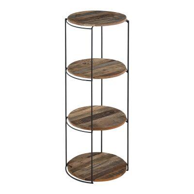 Discreet Reclaimed Timber & Iron Round Display Shelf, Large