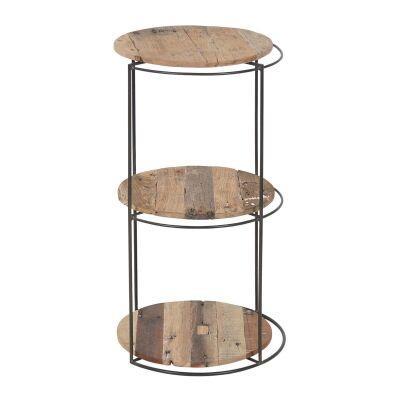 Discreet Reclaimed Timber & Iron Round Display Shelf, Medium