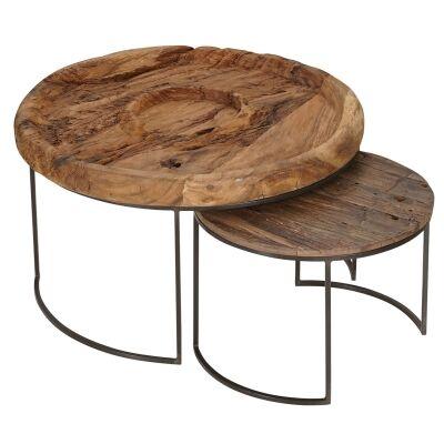 Kenthurst 2 Piece Suar Wood & Iron Nested Round Coffee Table Set, 75cm