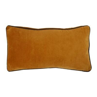 Breakfast Velvet Lumbar Cushion, Mustard