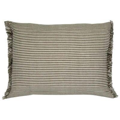 Abby Stripe Fabric Lumbar Cushion, Olive
