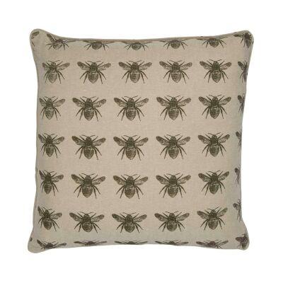 Honey Bee Fabric Scatter Cushion, Olive / Beige-I