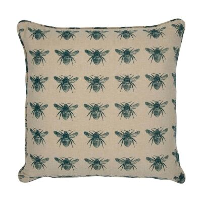 Honey Bee Fabric Scatter Cushion, Pale Blue / Beige