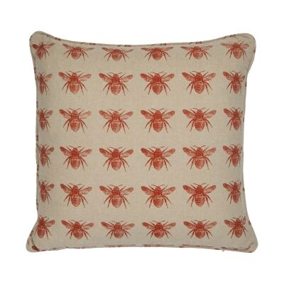 Honey Bee Fabric Scatter Cushion, Terracotta / Beige-I