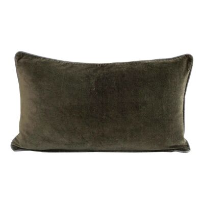 Breakfast Velvet Lumbar Cushion, Olive