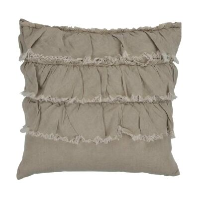 Rydges Linen Fabric Frill Scatter Cushion, Taupe