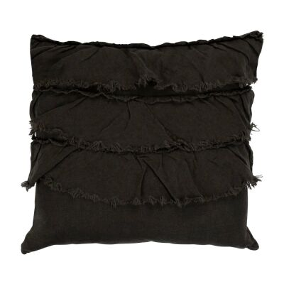 Rydges Linen Fabric Frill Scatter Cushion, Charcoal
