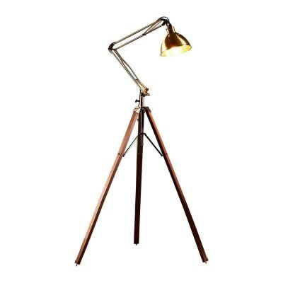 Mars Metal & Wood Tripod Floor Lamp, Antique Brass