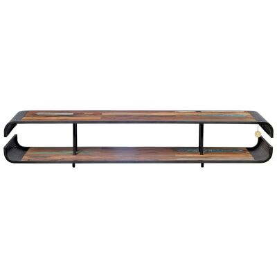 Aru Commercial Grade Industrial Recycled Timber & Iron Open Shelf TV Unit, 200cm